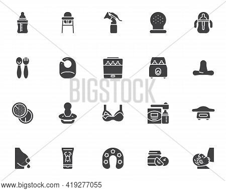 Maternity, Breastfeeding Vector Icons Set, Modern Solid Symbol Collection, Filled Style Pictogram Pa