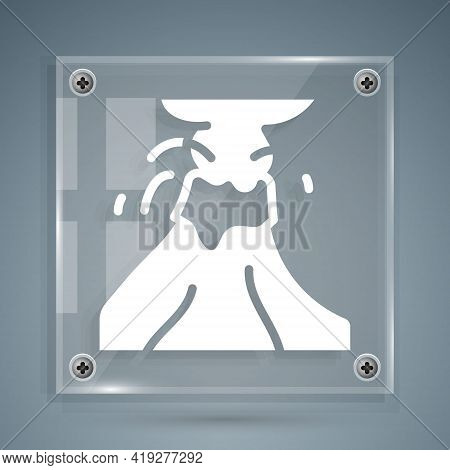 White Volcano Eruption With Lava Icon Isolated On Grey Background. Square Glass Panels. Vector