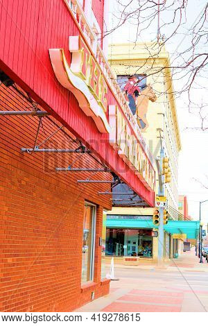 April 26, 2021 In Cheyenne, Wy:  Vintage Buildings With Retail Stores And Restaurants On A Downtown