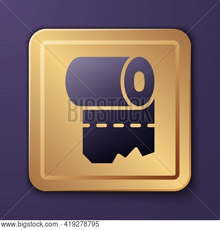 Purple Toilet Paper Roll Icon Isolated On Purple Background. Gold Square Button. Vector