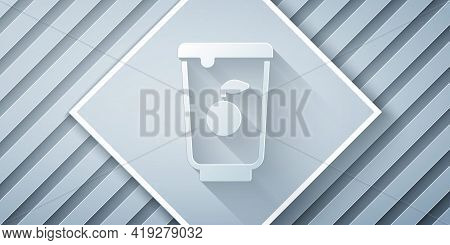 Paper Cut Yogurt Container Icon Isolated On Grey Background. Yogurt In Plastic Cup. Paper Art Style.