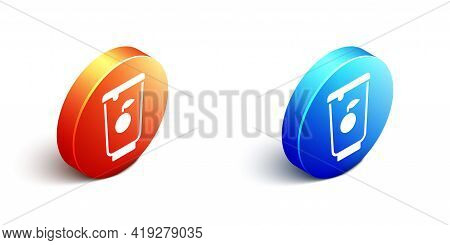 Isometric Yogurt Container Icon Isolated On White Background. Yogurt In Plastic Cup. Orange And Blue