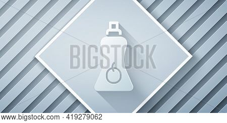 Paper Cut Sauce Bottle Icon Isolated On Grey Background. Ketchup, Mustard And Mayonnaise Bottles Wit
