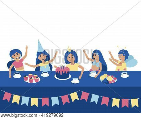 At A Birthday Party, A Girl Blows Out The Candles On The Cake. Festive Table With Treats. Girls In C