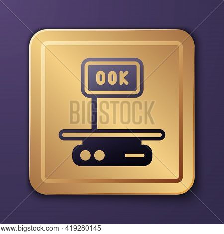 Purple Electronic Scales Icon Isolated On Purple Background. Weight For Food. Weighing Process In St