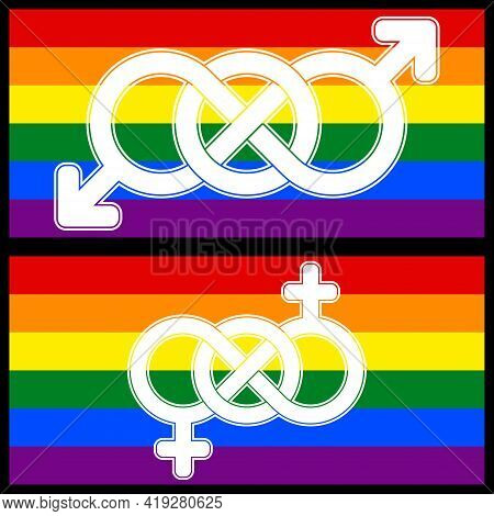 Lgbt Symbol Design United By Infinity, Symbol Of Sexual Diversity Intertwined With The Symbol Of Inf