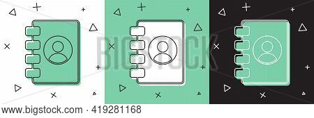 Set Address Book Icon Isolated On White And Green, Black Background. Notebook, Address, Contact, Dir