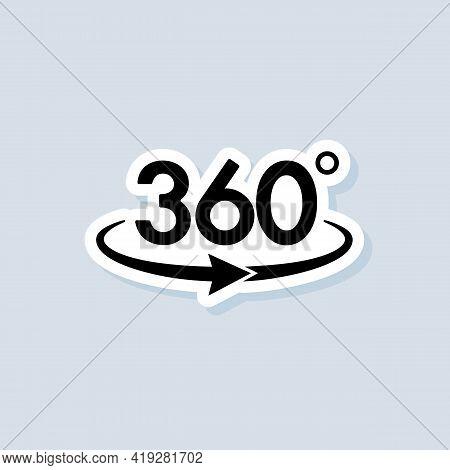 360 Degree Camera Sticker, Logo, Icon. Vector. Panorama Picture 360 Degree. Camera, Photo Icon. Virt