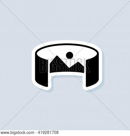 360 Degree Camera Sticker, Logo, Icon. Panorama Picture 360 Degree. Camera, Photo Icon. Virtual Real