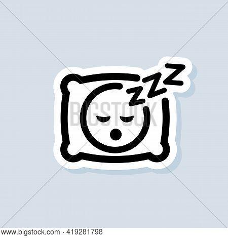 Sleeping Sticker, Logo, Icon. Vector. Pillow. Sleep. An Image Of A Person Having A Dreamful Slumber
