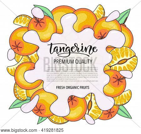 Vector Background With Tangerine, Whole And Pieces - Splash Of Water Or Milk