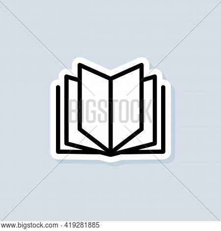 Open Book. Book Sticker, Logo, Icon. Vector. Reading Line Icon. Bookstore Logo. Library Sign. Educat