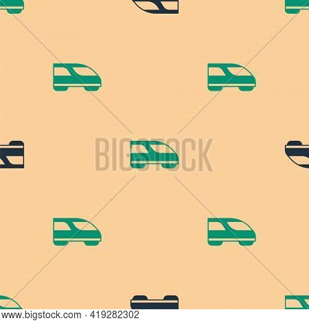 Green And Black High-speed Train Icon Isolated Seamless Pattern On Beige Background. Railroad Travel