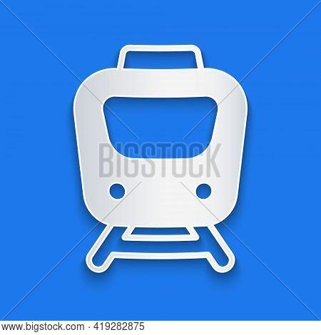 Paper Cut Train Icon Isolated On Blue Background. Public Transportation Symbol. Subway Train Transpo
