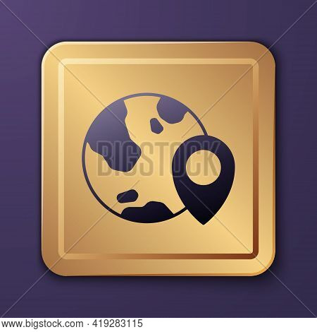 Purple Location On The Globe Icon Isolated On Purple Background. World Or Earth Sign. Gold Square Bu