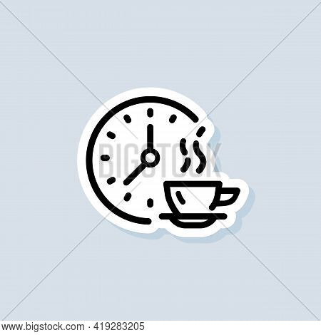 Time For Lunch Sticker, Logo, Icon. Vector. Meal Breaks Icon. Time Break. Dinner. Food Time Logo. Ve