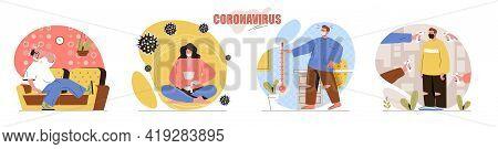 Coronavirus Concept Scenes Set. People Wearing Protective Masks, Fever Is Symptom Of Disease, Pandem