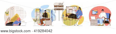 Distance Learning Concept Scenes Set. Students Studying On Laptops, Homeschooling, Online Education,