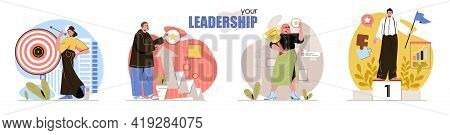 Leadership Concept Scenes Set. Achieving Goals, Targeting, Professional Growth, Business And Career