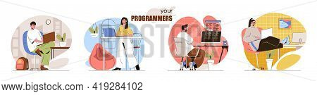 Programmers Concept Scenes Set. Developers Coding, Create Software Or Applications, Testing Products