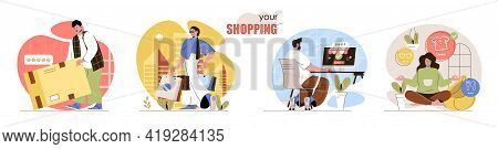 Shopping Concept Scenes Set. Buyers With Purchases In Packages, Make Online Purchases, Receive Parce