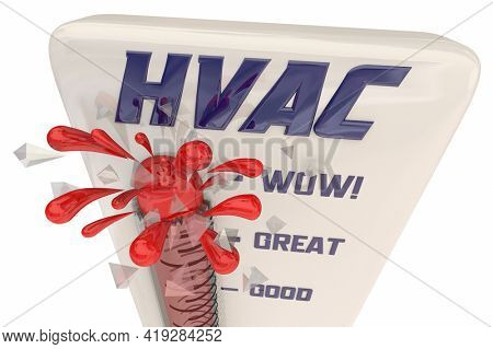 HVAC Heating Ventilation Air Conditioning Thermometer Hot Cold Temperatures 3d Illustration