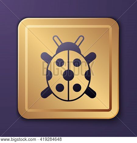 Purple Ladybug Icon Isolated On Purple Background. Gold Square Button. Vector