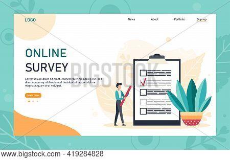 Flat Web Page Template Design With Online Survey Concept. Internet Questionnaire Form. Man Fills Out