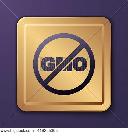 Purple No Gmo Icon Isolated Purple Background. Genetically Modified Organism Acronym. Dna Food Modif