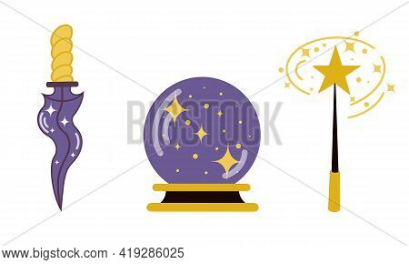 Vector Set Of Magic Items. Scrying Ball, Ritual Dagger And Wand. Witch Artifacts Isolated On White B