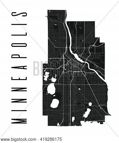 Minneapolis Map. Detailed Vector Map Of Minneapolis City Administrative Area. Cityscape Poster Metro
