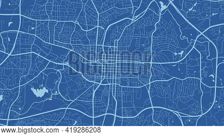 Blue Raleigh City Area Vector Background Map, Streets And Water Cartography Illustration. Widescreen
