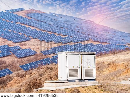solar collector inverter with solar panels energy modern electric power production technology renewable energy concept