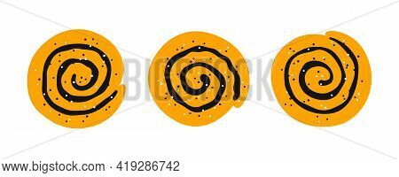 Cinnamon Rolls With Sugar. Set Of Swirl Buns. Hand Drawn Isolated Vector Illustration On White Backg