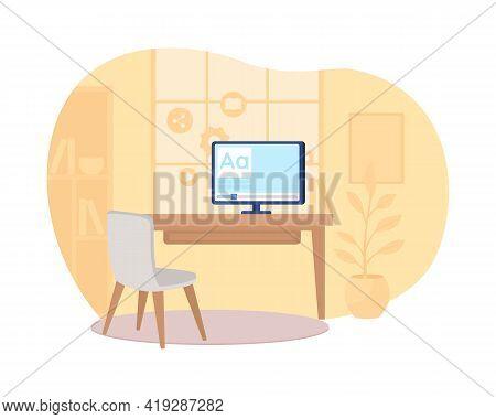 Home Workspace 2d Vector Web Banner, Poster. Remote Studying. Workstation In Orange Room Flat Scene