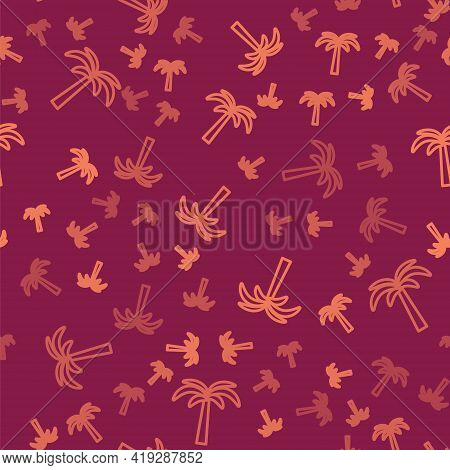 Brown Line Tropical Palm Tree Icon Isolated Seamless Pattern On Red Background. Coconut Palm Tree. V