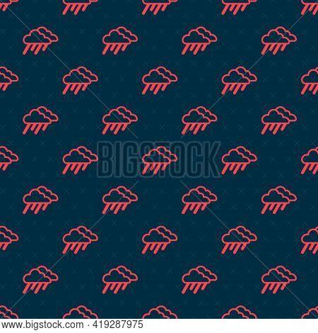 Red Line Cloud With Rain Icon Isolated Seamless Pattern On Black Background. Rain Cloud Precipitatio