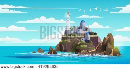 Lighthouse On Rock Stones Island Summer Landscape. Greece Architecture. Navigation Beacon Building I