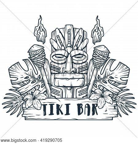 Design Of Hawaii Tiki Mask Or Idol. Ethnic Totem