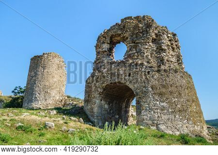 Remains Of Powerful Towers Of Fortress Kalamita, Inkerman, Crimea. Fortification Was Founded By Byza