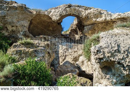 Ancient Passage Inside Inkerman Cave Monastery, Crimea. It's Still Can Be Seen Remains Of Arch And S