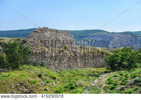 Remains Of Wall Of Medieval Fortress Kalamita, Inkerman, Crimea. Fortification Was Founded By Byzant