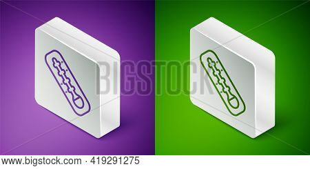Isometric Line Meteorology Thermometer Measuring Heat And Cold Icon Isolated On Purple And Green Bac