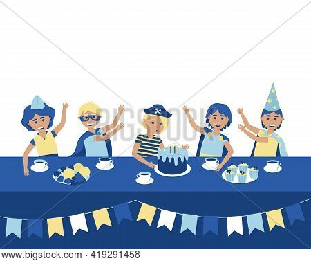 At A Birthday Party, A Boy Blows Out The Candles On The Cake. Festive Table With Treats. Boys In Car