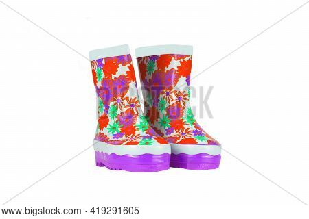 Children Shoes And Boots. Closeup Of A Pair Pink Rubber Boots Isolated On A White Background. Kids S