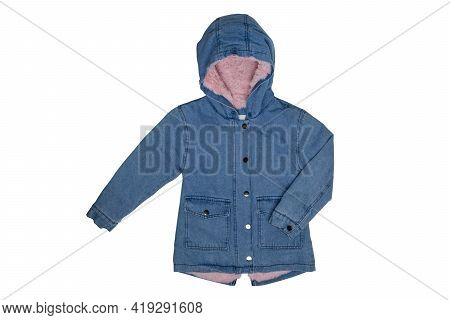 Kids Jeans Jacket Isolated. A Stylish Fashionable Cozy Warm Denim Blue Jacket With A Light Pink Lini