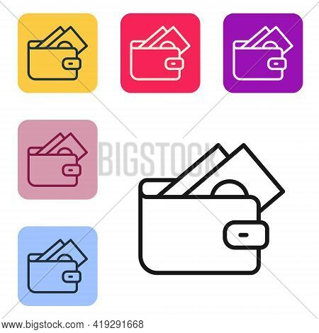 Black Line Wallet With Stacks Paper Money Cash Icon Isolated On White Background. Purse Icon. Cash S