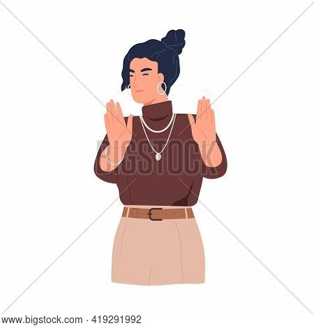 Woman Gesturing Stop, Showing Rejection Or Denial Sign. Non-verbal Communication. Person With Dissat