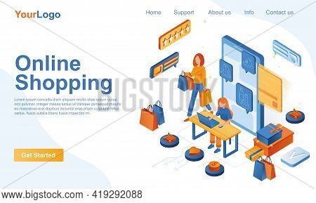 Online Shopping Isometric Landing Page Template. Customer Buying Clothing Or Shoes At Store Webpage