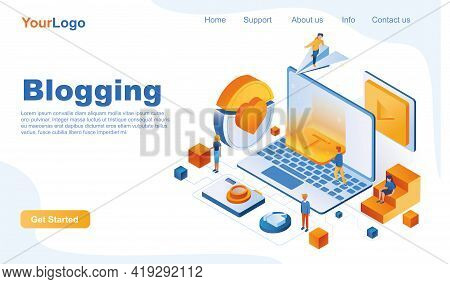 Blogging Isometric Landing Page Template. Creating Content For Blog, Working On Social Networks 3d C